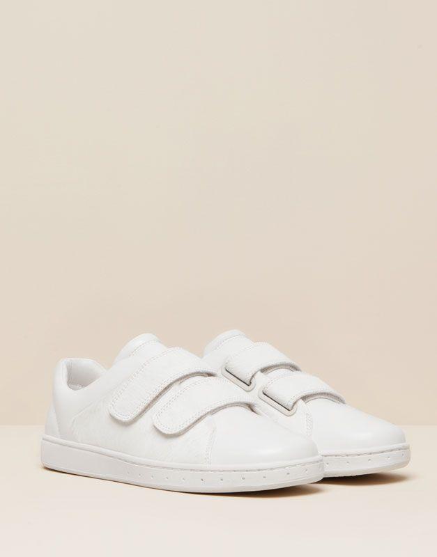 Pull Bear - sapatos - · sapatilhas - ténis bamba em couro velcros - branco  - 15740011-I2015 ff6deefdea