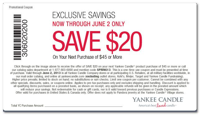 graphic about Printable Yankee Candle Coupons called $20 off $45 Printable Coupon For Yankee Candle Freebies