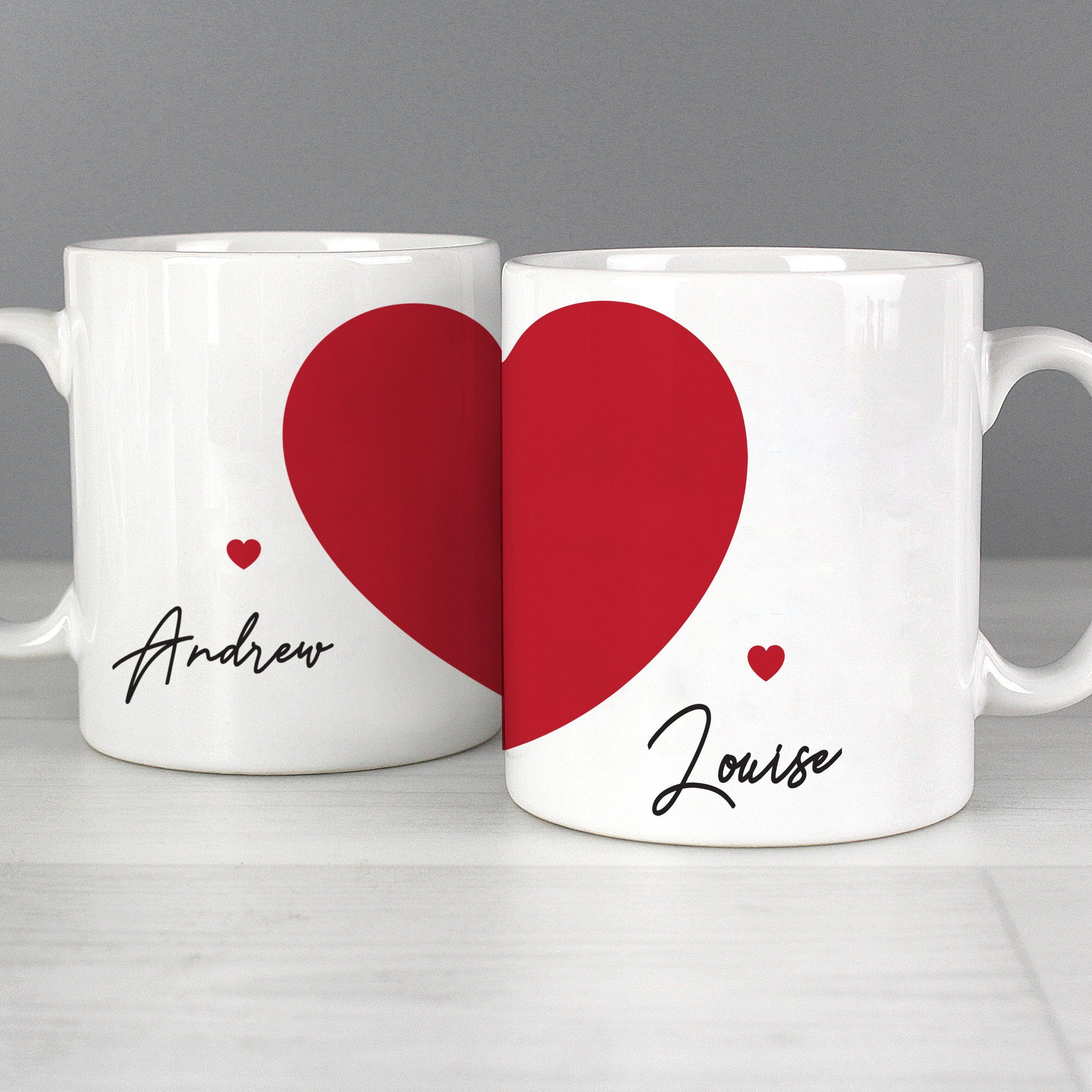 When two halves become one... This personalised Two Hearts Mug Set is a perfect way of feeling connected, even when apart! This mug set can be personalised with 2 names with up to 12 characters per name, with one name on each mug. The names will appear as entered. Please refrain from using all uppercase letters. Hand washing is recommended. Material is ceramic. Perfect for Wedding, Anniversary, Valentine's Day, Christmas.