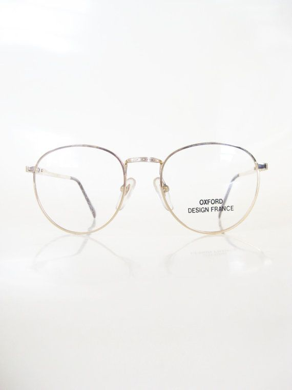 e8a4b718cc Mens Round Glasses Wire Rim Gold Metallic 1980s P3 Eyeglasses Guys Homme  Deadstock NOS New Old Stock Optical Frames Geek Chic Nerdy 80s