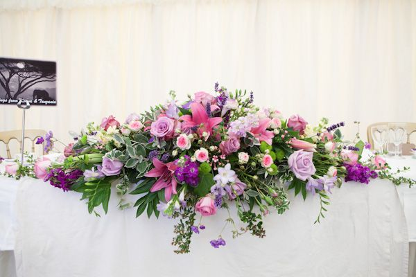 Wedding Reception Bridal Table Flowers Top Pink And Purple Large