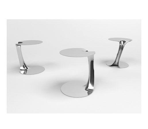 Trio In Mirror Polish Aluminum /Flow Side Table C