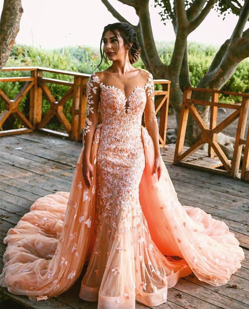 03d4b428da199 Peach Lace Long Sleeves Mermaid Prom Dresses Removable Skirt in 2019 ...