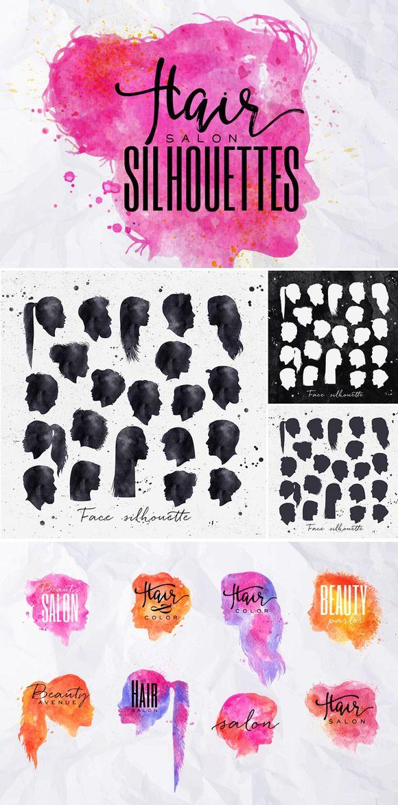 Hair Salon Silhouettes by Anna on @creativemarket                                                                                                                                                                                 More