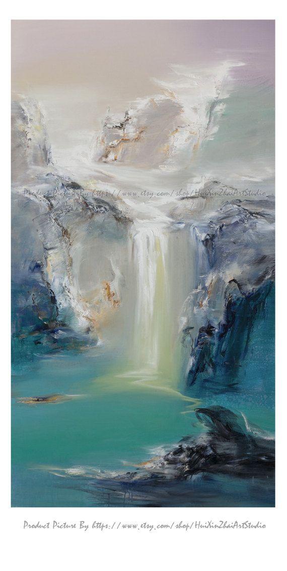 Abstrait de peinture à lhuile, Art contemporain, à la main peinture grand Art, art mural très grand paysage peinture à lhuile, peinture bleue, grande toile art