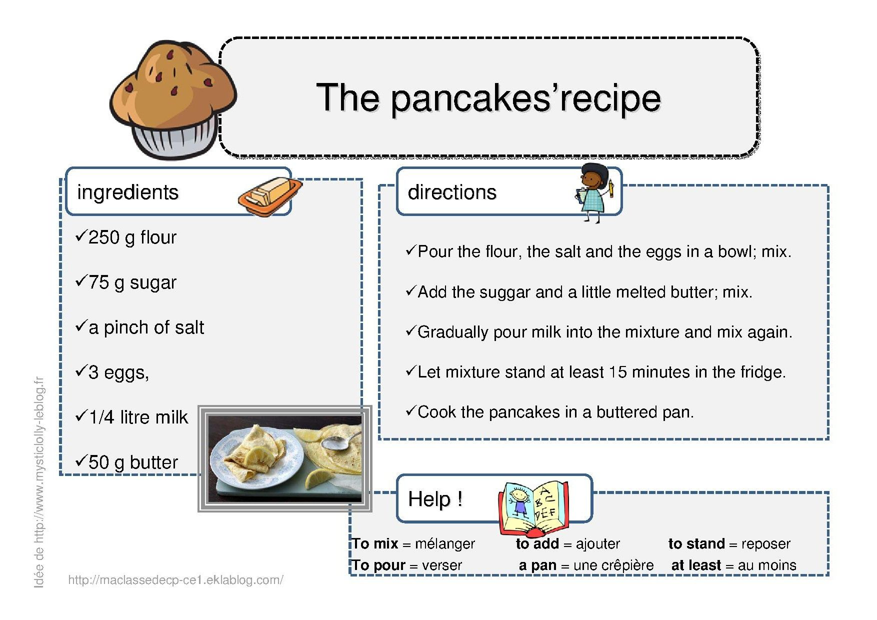Recette en anglais des pancakes so british dessins - Apprendre a cuisiner facile ...