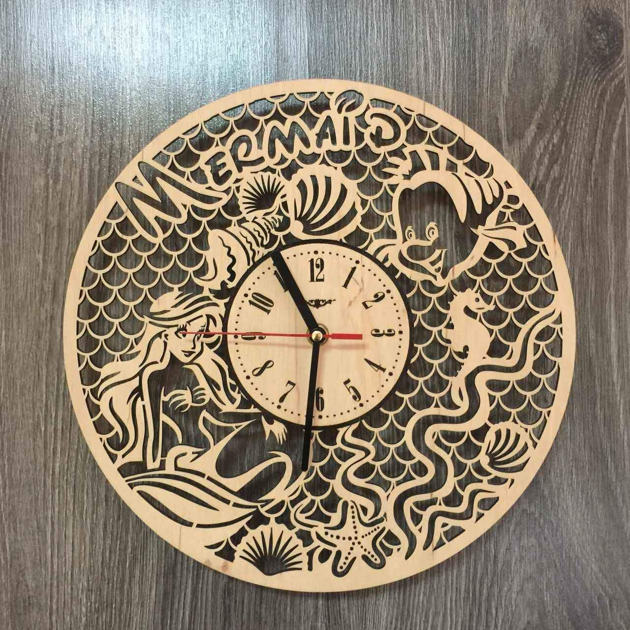 A Little Mermaid Wall Wood Clock 31 99 Size 12 In 30 Cm Really Cool Gift And Unique Home Decoration Can Be Personalized F Clock Wall Clock Wooden Clock