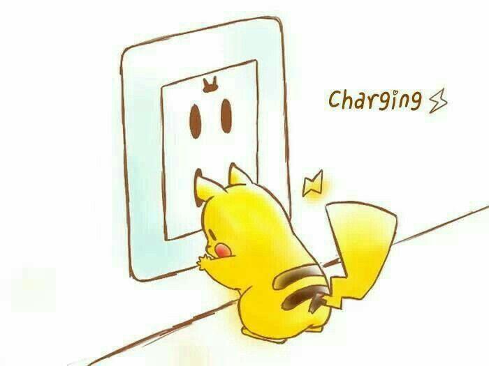 Charging, text, cute, Pikachu, electric socket; Pokémon