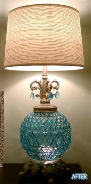 Double Lamp Revamp Lamp Makeover Lamp Redo Glass Lamp Shade