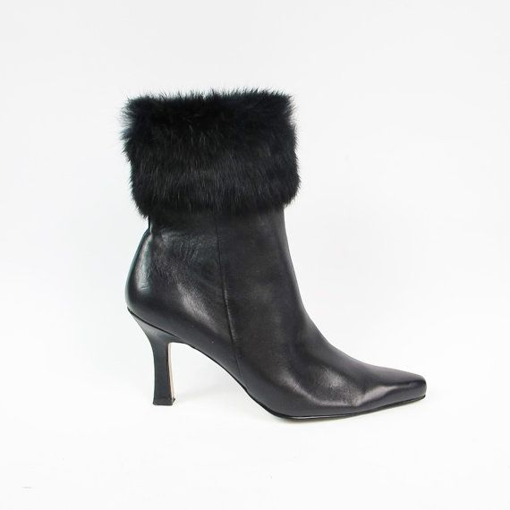 90s Fur Ankle Boots Anne Klein Shoes Black by honeymoonmuse