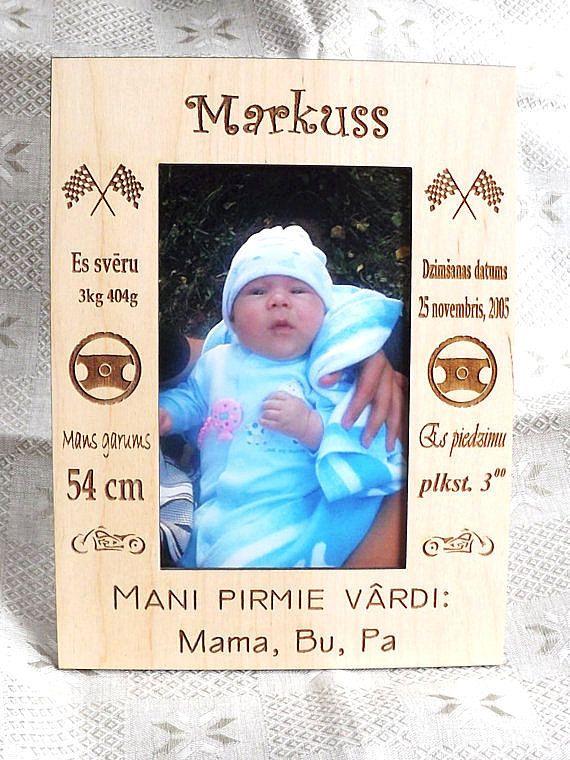 Personalized wood baby boy frame. - Dimensions: 15cm x 20cm / 5.9 x ...