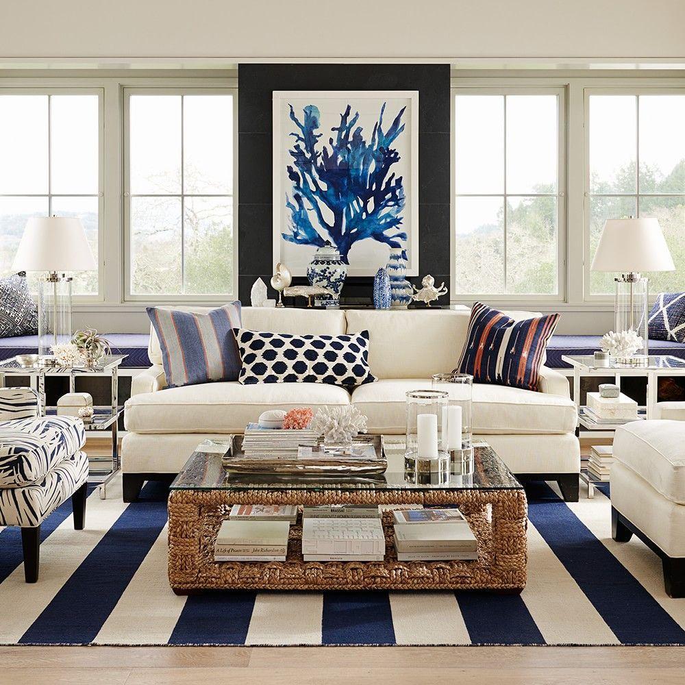 Oversized Indigo Coral Prints | Coastal living rooms ...