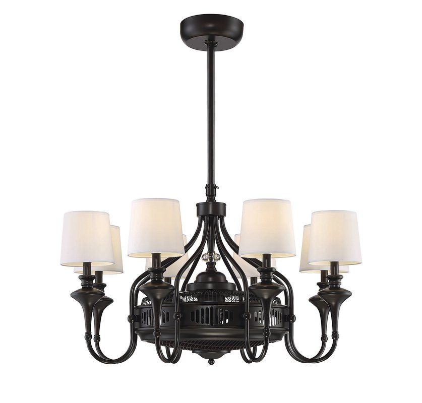 Featuring an elegant chandelier design with a concealed ceiling fan and air ionizer this bronze finished fandelier is perfect for your living room or den