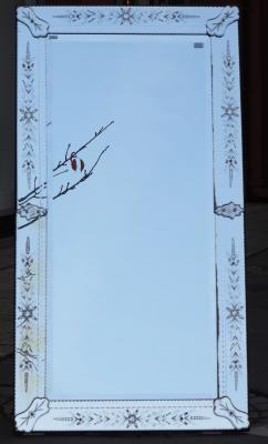 1900' Miroir venise rectangulaire a fleurs et bulles 174 x 92 cm