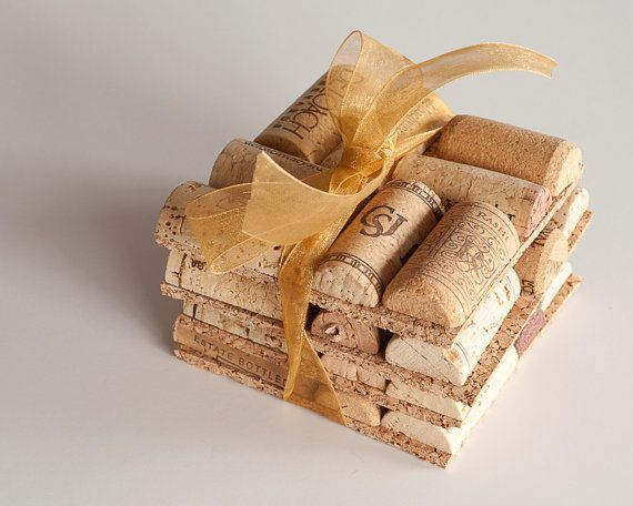 Wedding Favor Ideas, Wine Cork Coasters Set Of 4 Wine Cork