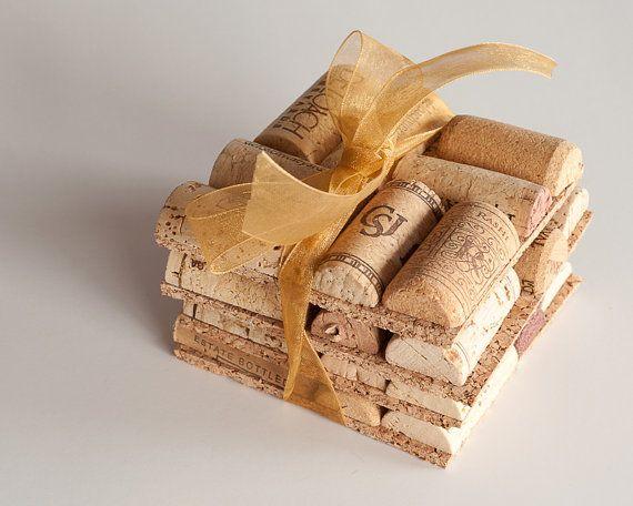 Wedding Favor Ideas, Wine Cork Coasters Set Of 4 Wine Cork