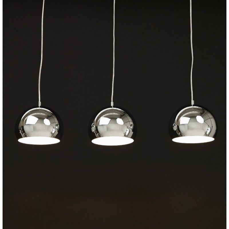 Lampe Suspendue Retro 3 Boules Pouilles En Metal Chrome Lampe Suspendue Lumieres Suspendus Suspendu