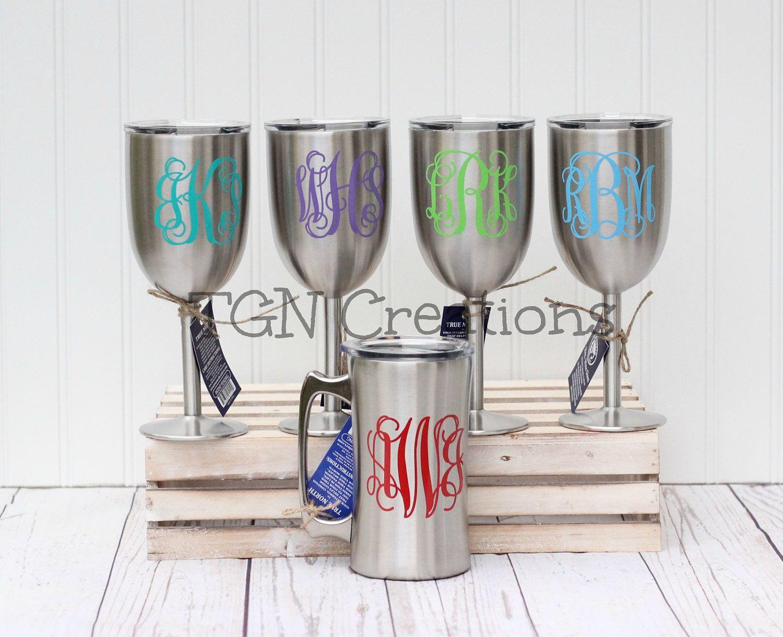 Yeti Wine Glass, Stainless Steel Wine Glass, Monogram Wine Glass ...