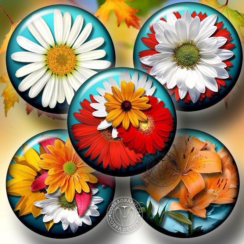 "Summer Bouquet Digital Collage Sheets - 1.5"", 1.25"", 30mm, 1"", 25mm circles - Printable Digital Download Cfaft Supplies for Jewelry Making CG-518aC"