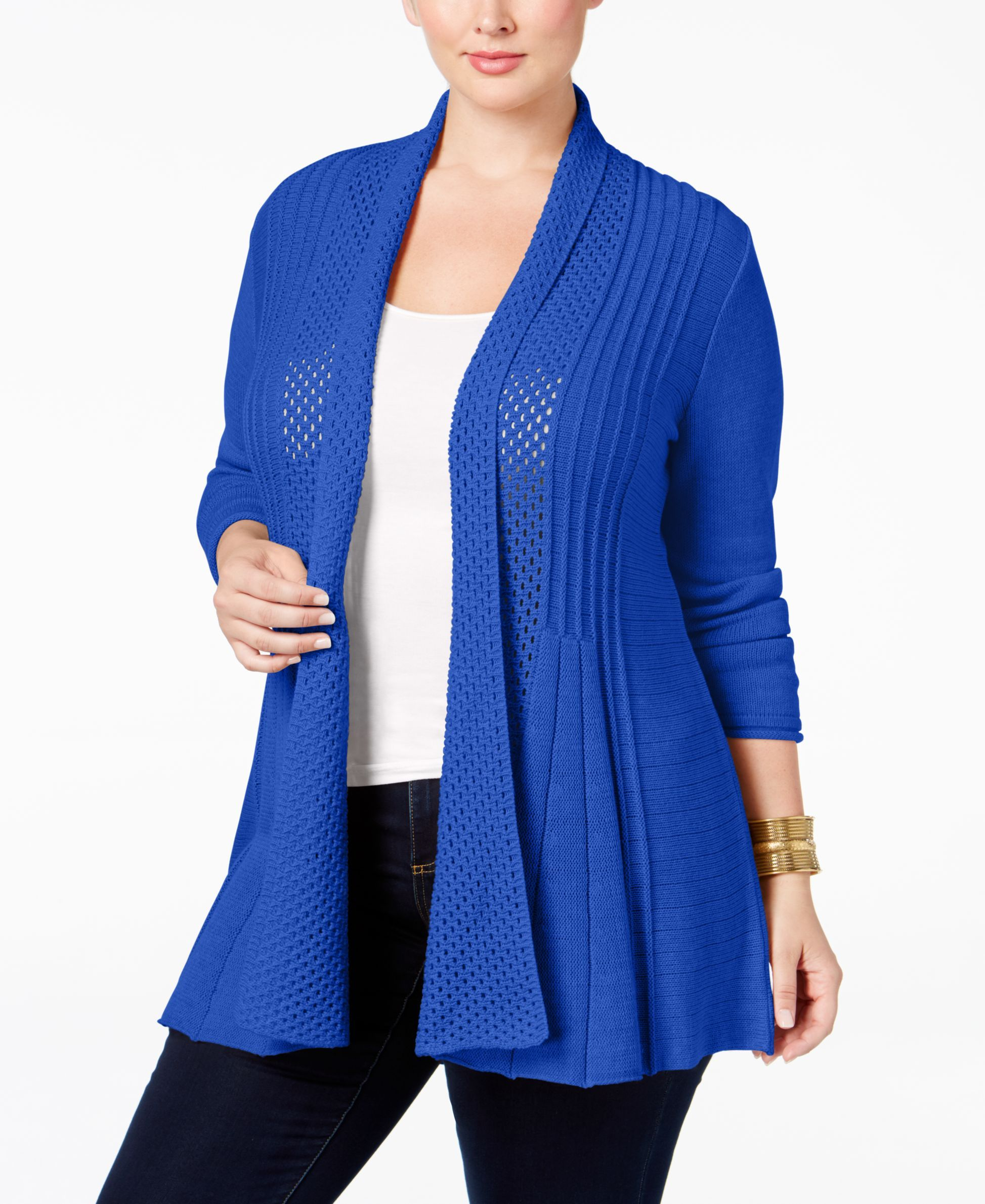 Ny Collection Plus Size Pointelle-Knit Duster Cardigan | Products ...