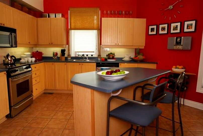 Red kitchen walls kitchen kitchen layout ideas for for Grey kitchen cabinets with red walls