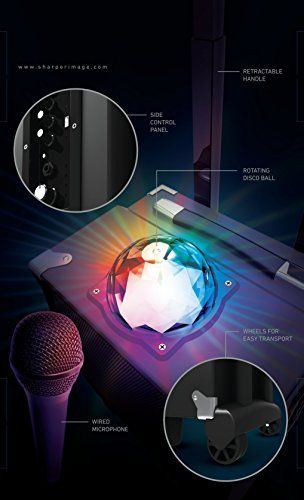 Sharper Image Sbt1009bk On The Go Bluetooth Party Speaker With Disco