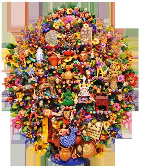 Clay Mexican Folk Art Tree of Life from Metepec, Mexico.