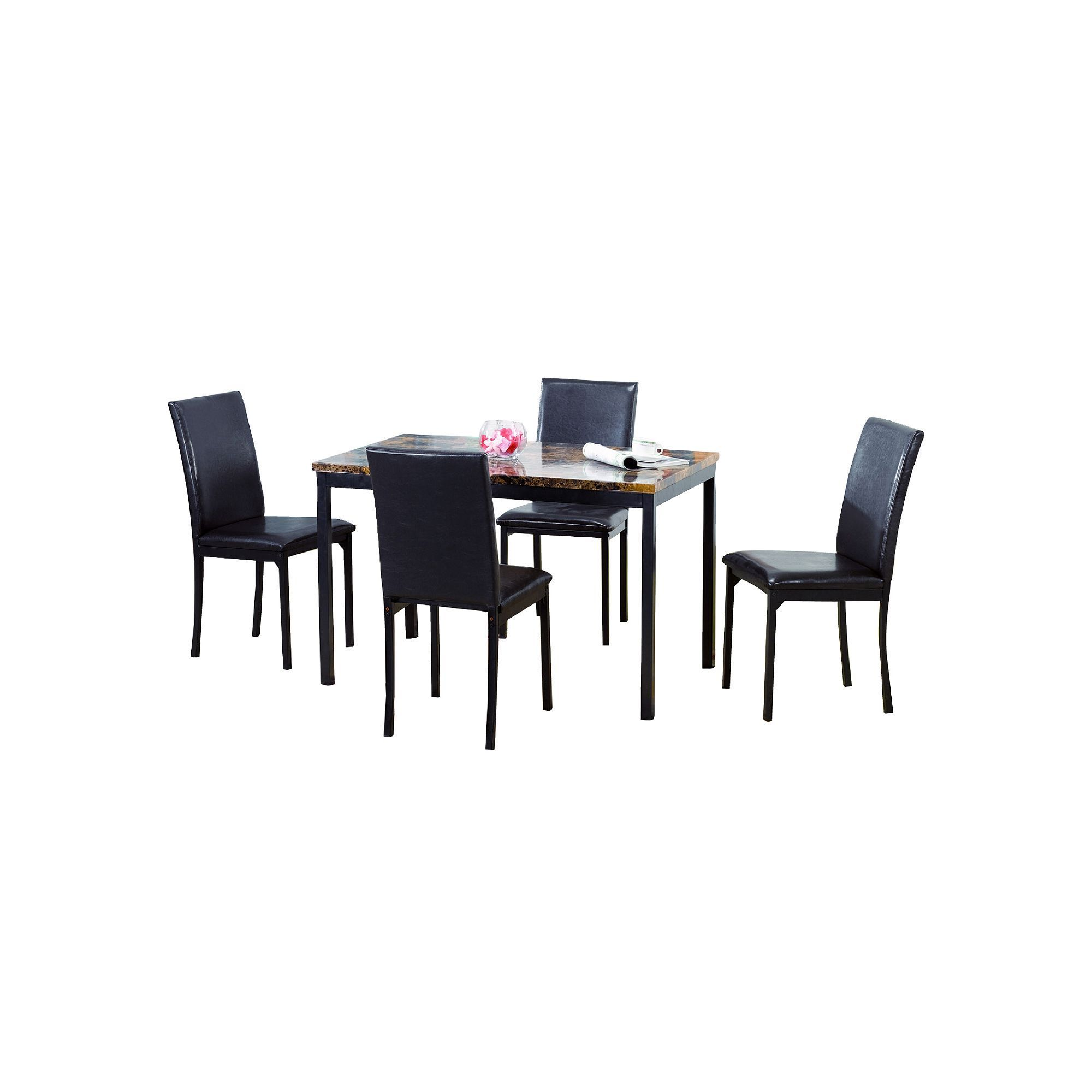 Pc fauxmarble dining table and chairs set black faux marble