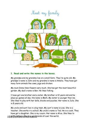 Beginner\'s family worksheet with different exercises (read the ...
