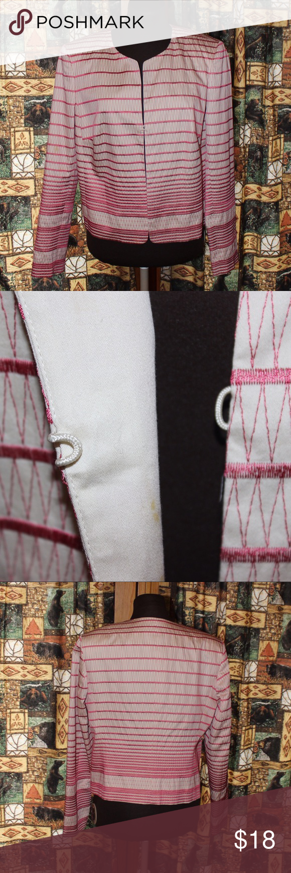 ✨ Talbots ✨ Beautiful pink and white designed Talbots Blazer with hook latch. Has a small stain on the inside of Jacket which is shown. Otherwise in great condition. Talbots Jackets & Coats Blazers