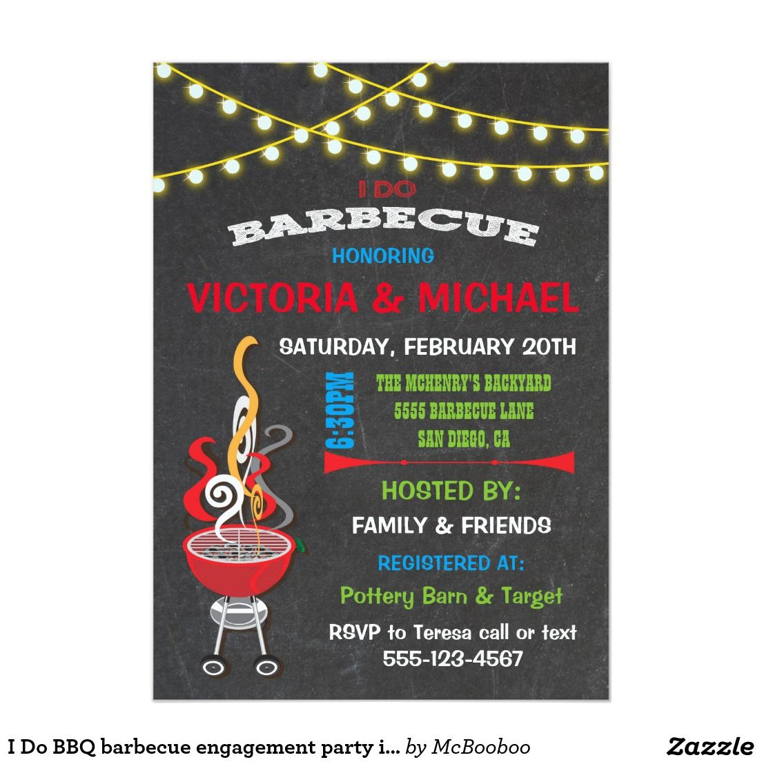 I Do BBQ barbecue engagement party invitation   Wedding :Engagement ...