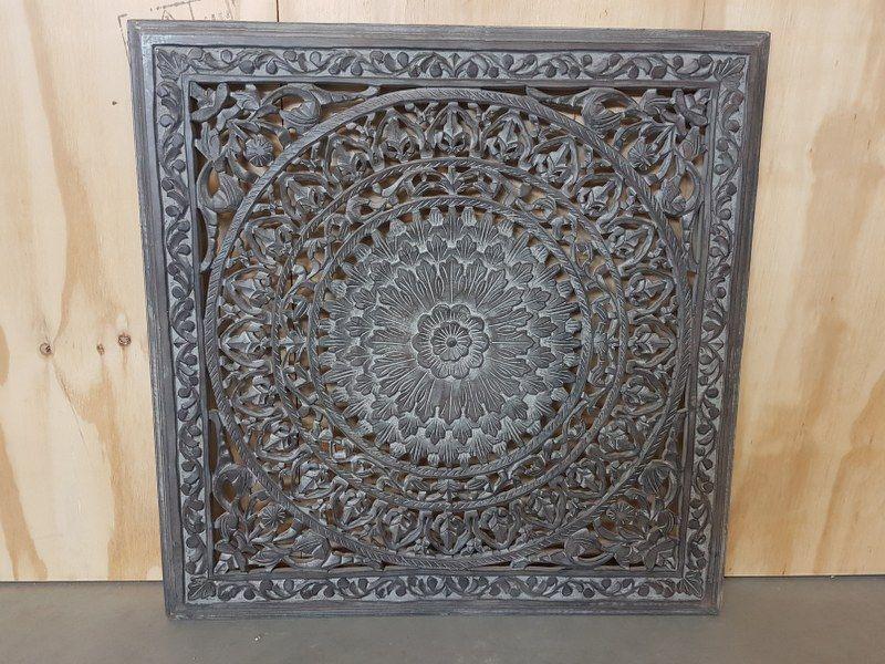 Houtsnijwerk paneel barcelona burnt grey 90 x 90 cm interieur