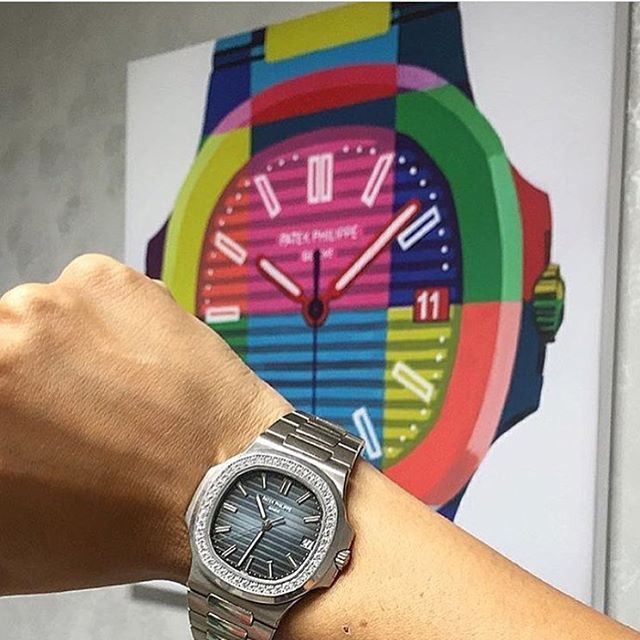 "Patek painting by @canvoir & diamonds Patek Nautilus. Get a special 50% discount at Canvoir.com with the code ""MD50"" #mondani #mondaniweb #canvoir #patek #patekaholic #patekphilippe #patekphilippewatch #patekphilippenautilus #nautilus #patekgallery #patekcollector #watchnerd #watchgeek #lovewatches #watchesofinstagram #office #pateknut #watchmania #wristgame #wristshot #wristporn #thewrongwrist"