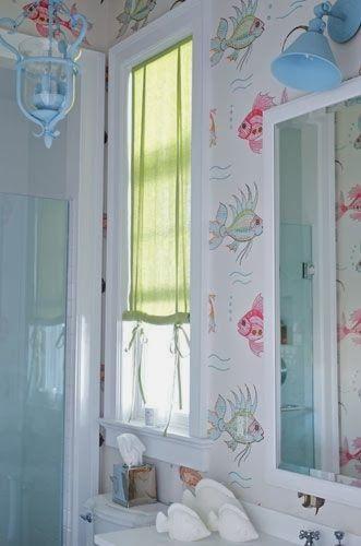 Chic Bathrooms · Beachy · Fish WallpaperBathroom ...