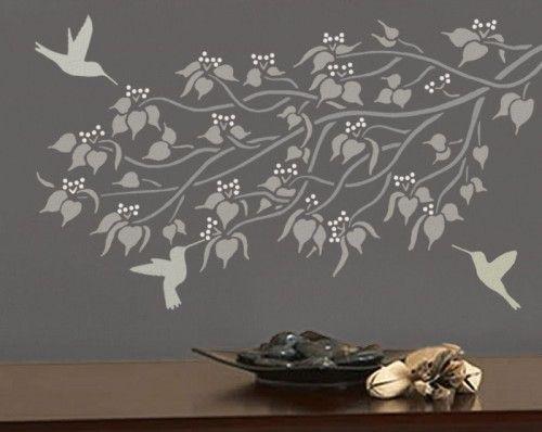 Attractive Bedroom Wall Stencil Ideas | HUMMINGBIRDS 3 Wall STENCILS, Reusable EASY  DIY Interior Wall Design