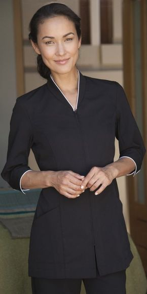 Pravia black with white piping forma spa uniform for Spa uniform in the philippines