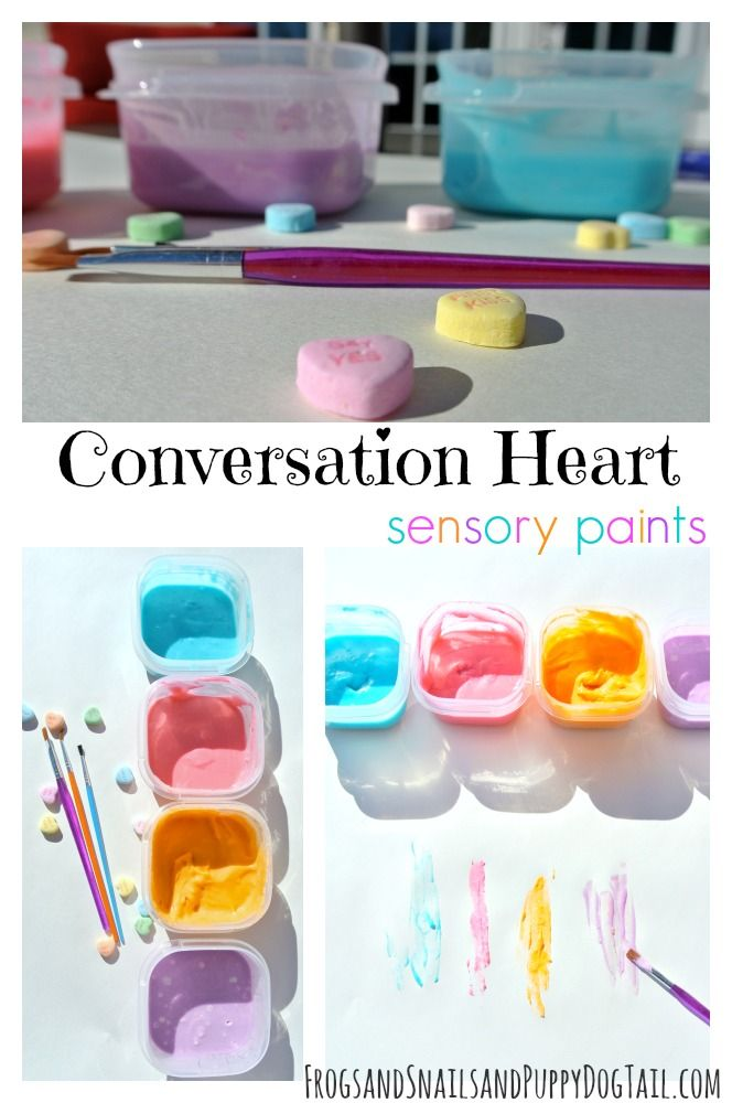 Conversation Heart Sensory Paint- cheap and easy to make | Valentines ...