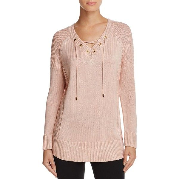 Calvin Klein Lace Up V Neck Tunic Sweater 57 Liked On
