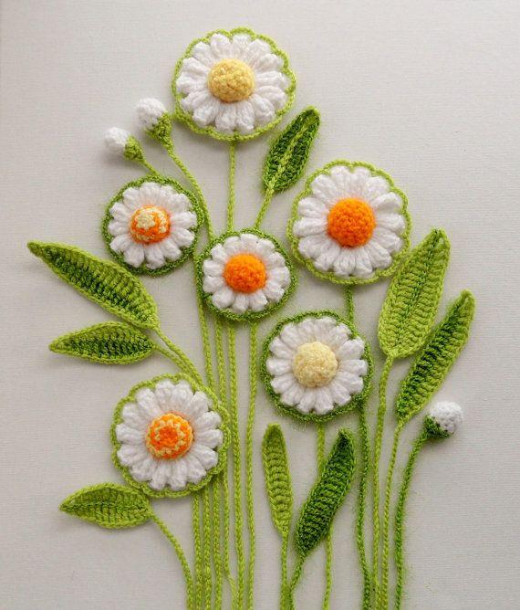 Crochet Applique - Flowers and Leaves Set - Daisy Flowers   Apliques ...