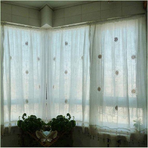 shabby chic drawnwork balloon curtain, pull-up curtain, hand crochet