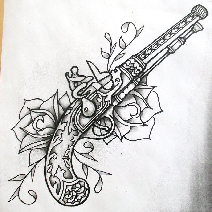 Tats pinterest gun tattoos skulls and tattoos and body art - Guns And Roses Shaded Find This Pin And More On Art By Lunaticarts Gun N Roses Tattoo Design