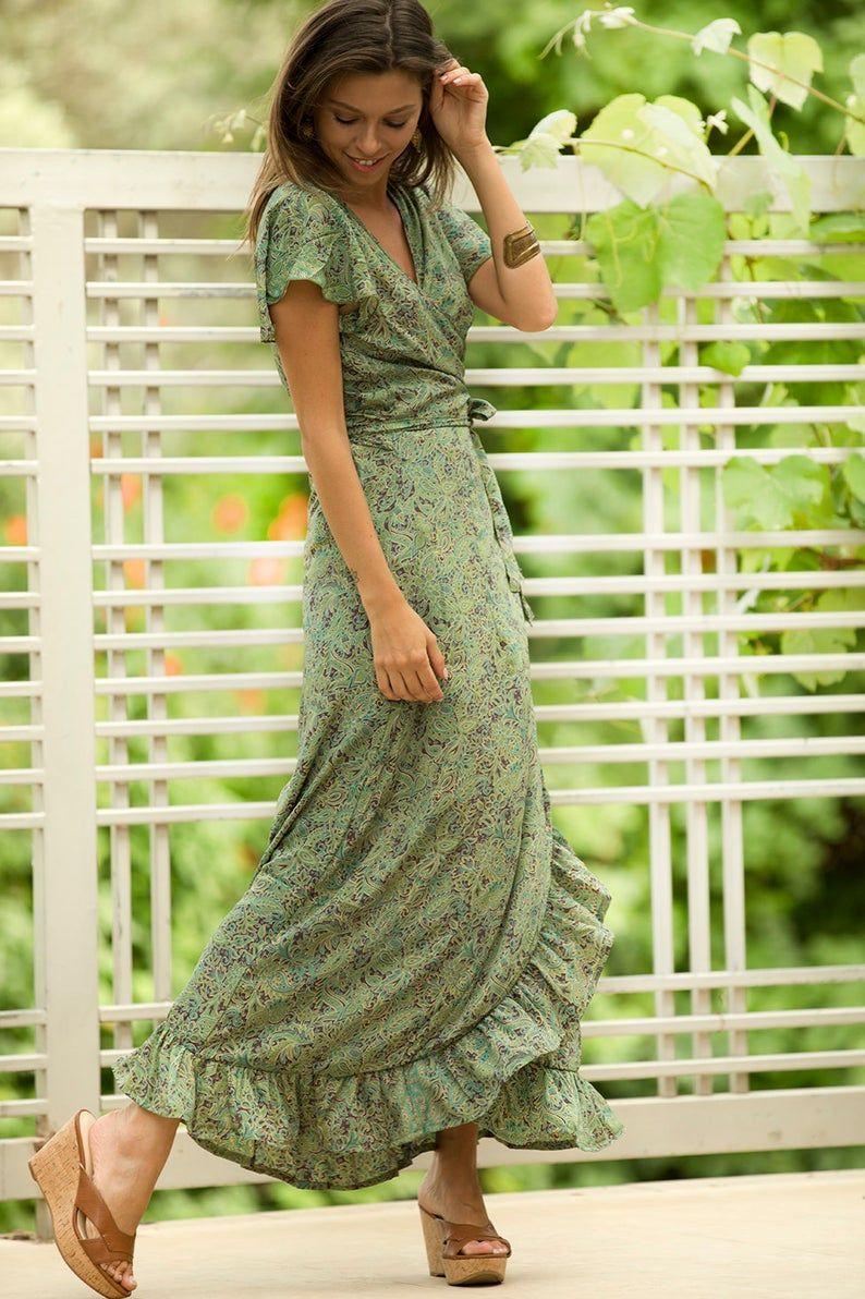 Olive Green Summer Maxi Dress Floral Romantic Wrap Dress Women Short Sleeve Frill Wrap Dress Casual Evening Sage Green Holiday Sundress Summer Maxi Dress Summer Maxi Dress Floral Maxi Dress [ 1192 x 794 Pixel ]