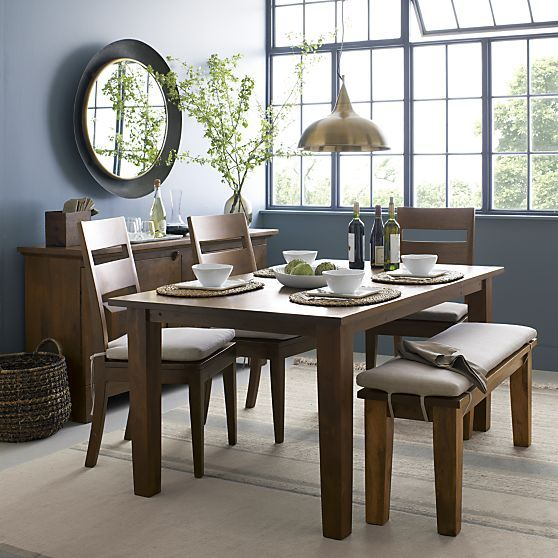 "basque honey 65"" dining table - crate and barrel 