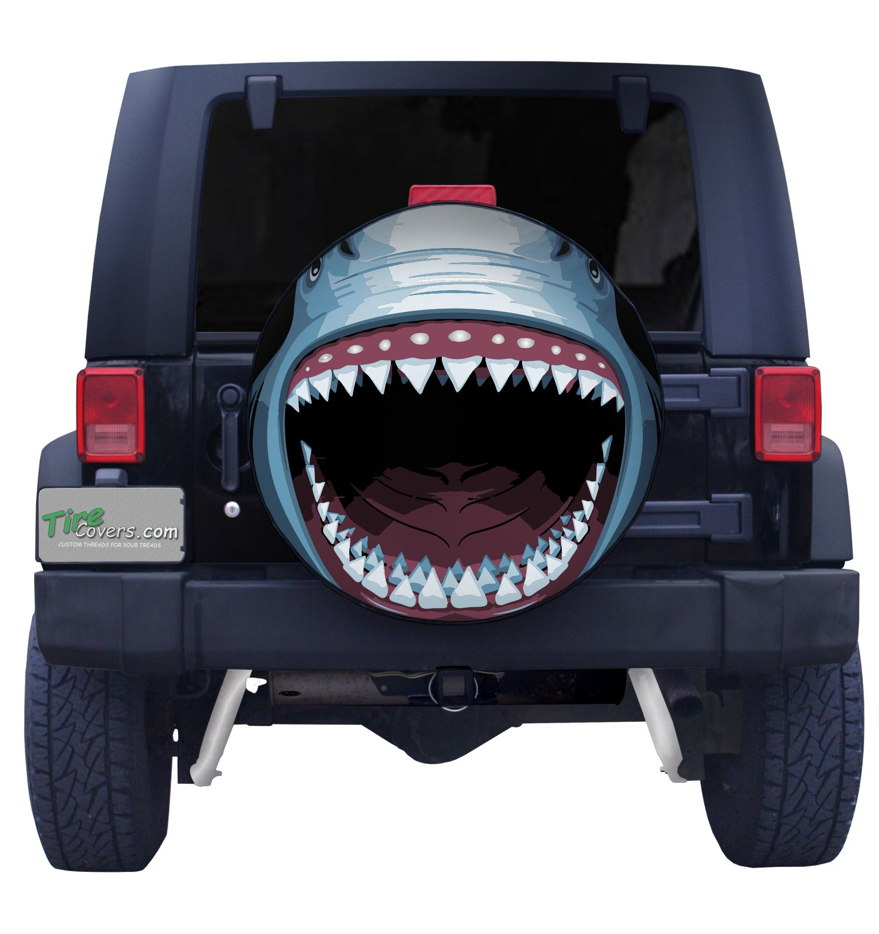Great white shark spare tire cover