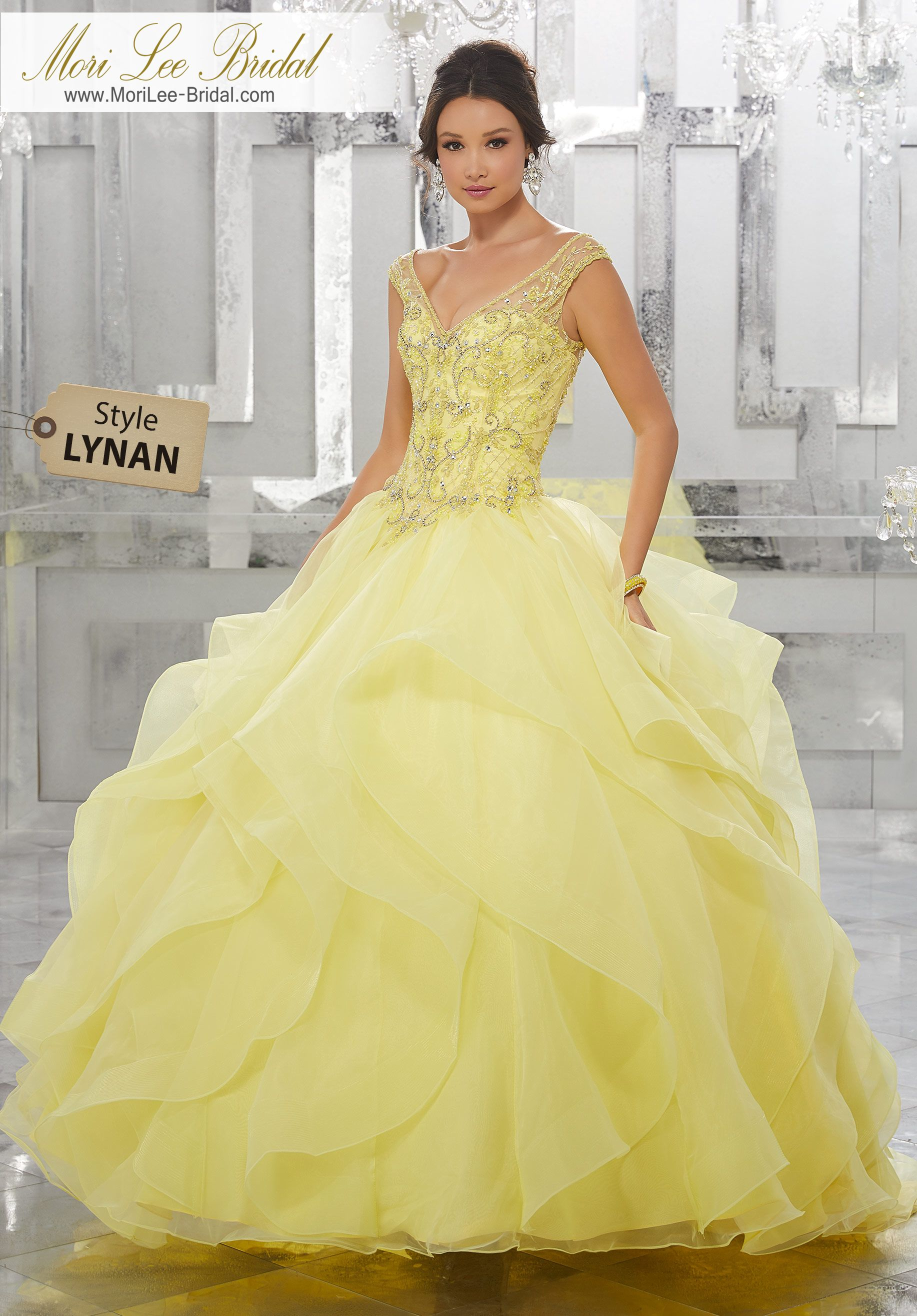 Style lynanflounced organza ball gown with beaded
