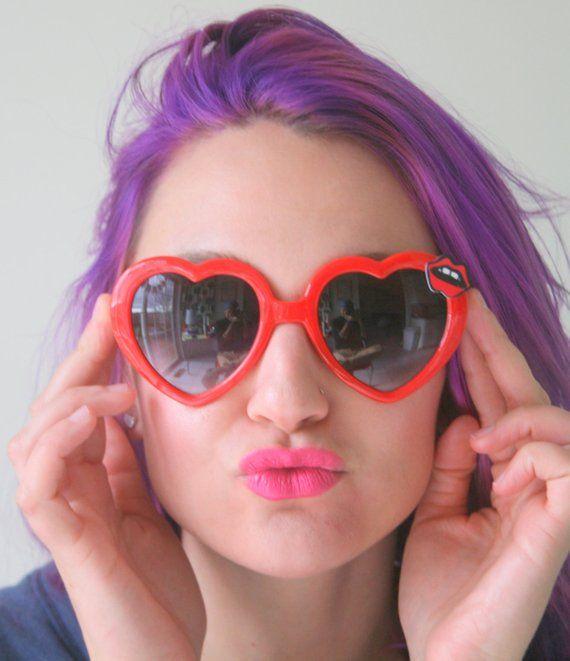 The Red Lips Heart Sunglasses Handmade Retro Heart Shades