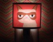 Grumpy Cat Night Light negative adorable art by Kathleen Habbley Cute Nursery Bathroom hallway Bedroom GET IT nightlight Nite Lite