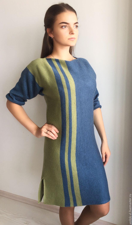 Купить Платье Осеннее море - тёмно-синий, в полоску, платье, платье вязаное