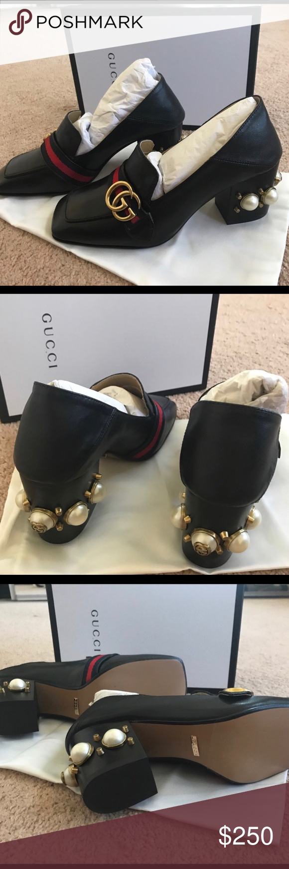 Gucci pearl heels New in box i'm not sure about authenticity cause it's a gift and i can't guarantee but to me it look like %95 auth Gucci Shoes Heels