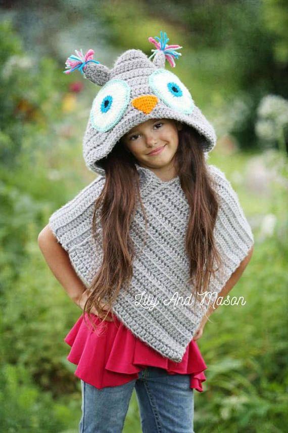 Owl Poncho Crochet Pattern Owl Poncho Hooded Poncho Hooded | Crochet ...